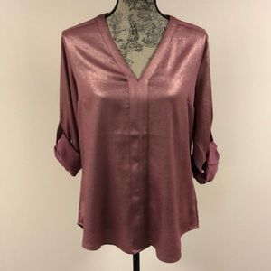 NEW Express Gold Sheen Pink Blouse, Large